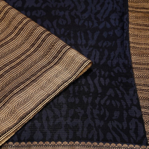 Black And Navy Blue Banarasi Silk Saree With Printed Shibori Pattern Pattern