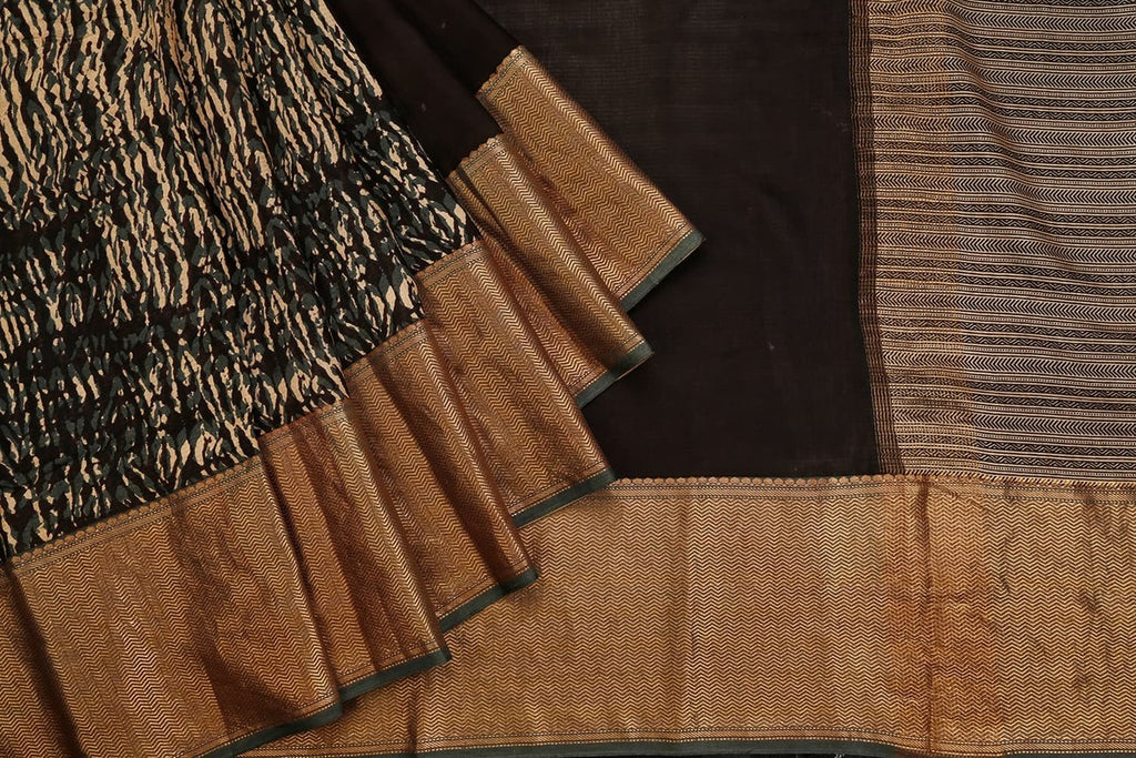 Dark Brown Banarasi Silk Saree With Printed Light Stripes Pattern