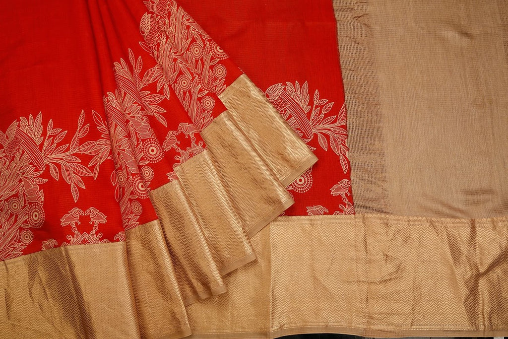 Bright Red Banarasi Silk Saree With Printed Plain Pattern