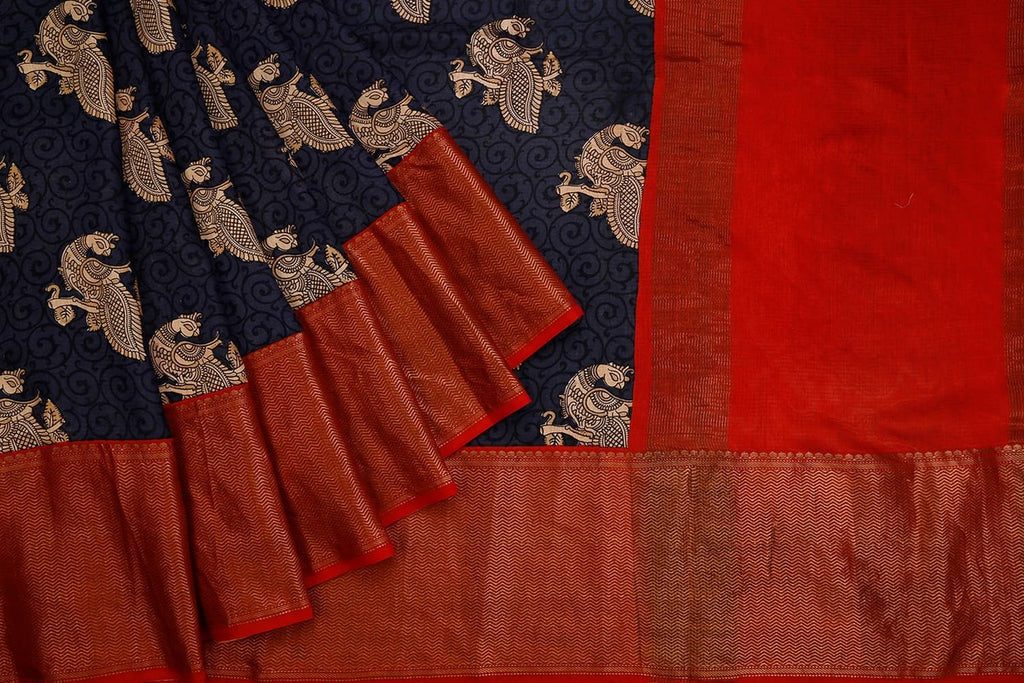 Dark Navy Blue Banarasi Silk Saree With Printed Peacock Pattern