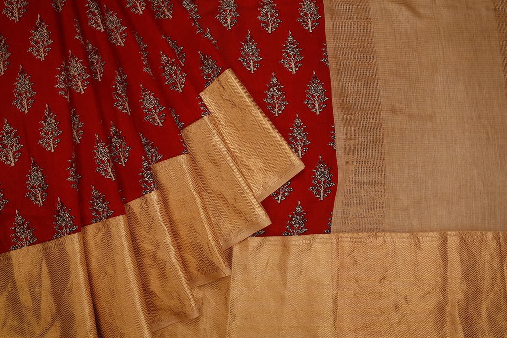 Dark Red Banarasi Silk Saree With Printed Tree Pattern