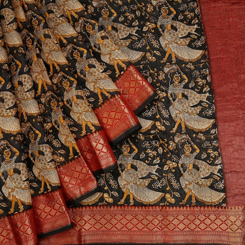 Black Muga Silk Saree With Printed Lady And Floral Pattern