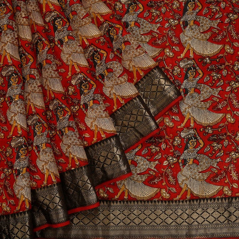 Red Muga Silk Saree With Printed Lady And Floral Pattern