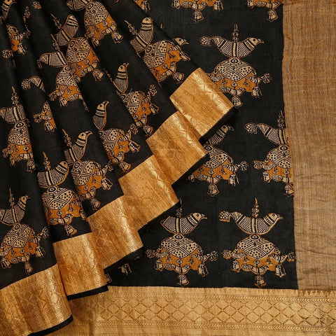 Jet Black Muga Silk Saree With Printed Free Hand Pattern
