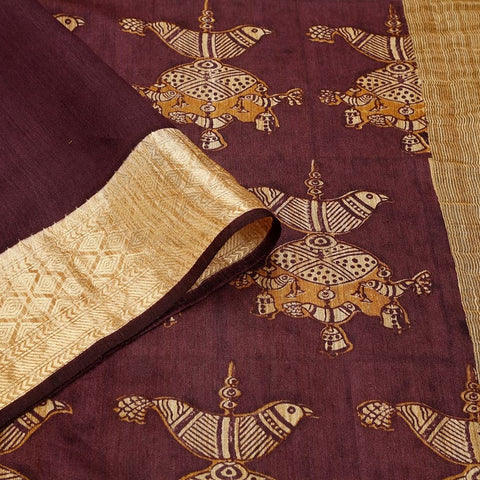 Maroon Muga Silk Saree With Printed Free Hand Pattern