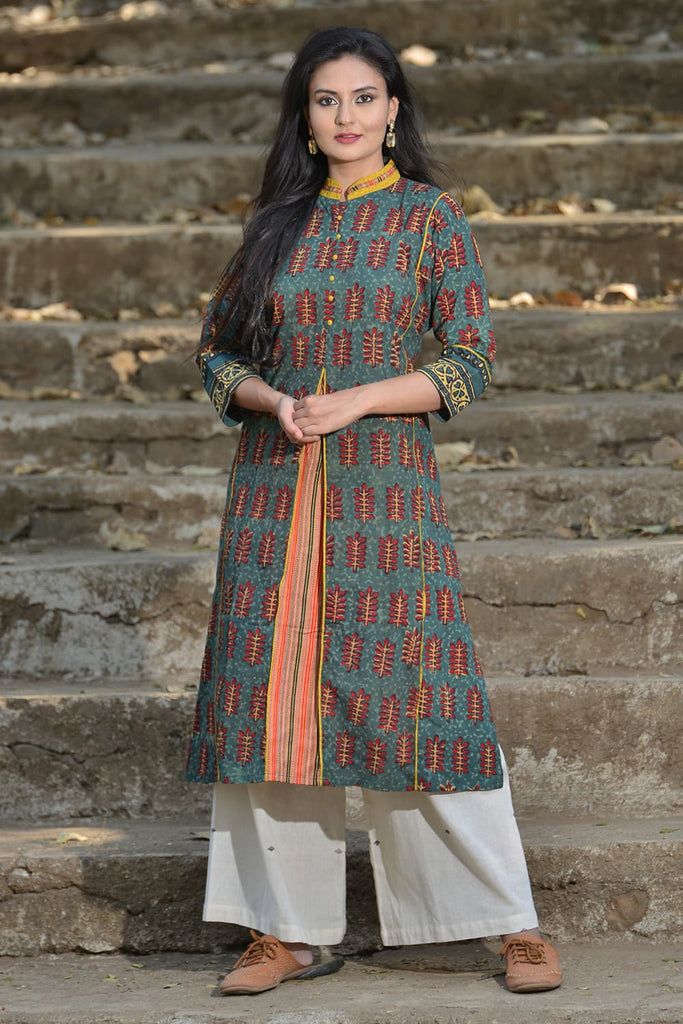 blue printed chinese collar ajrakh kurta