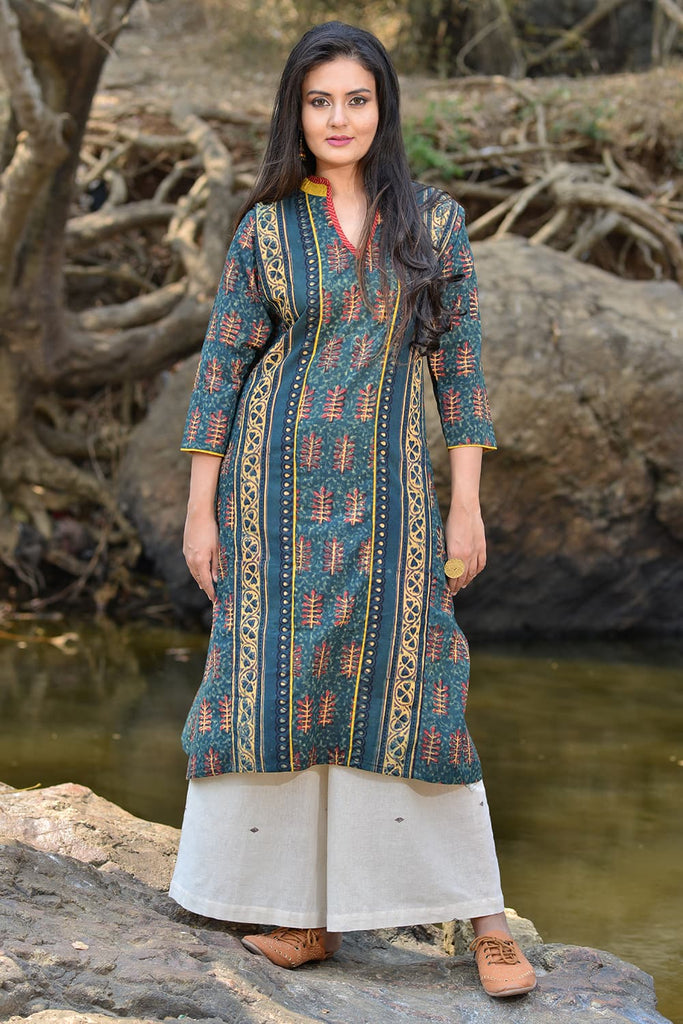 blue printed panelled kurta in ajrakh print