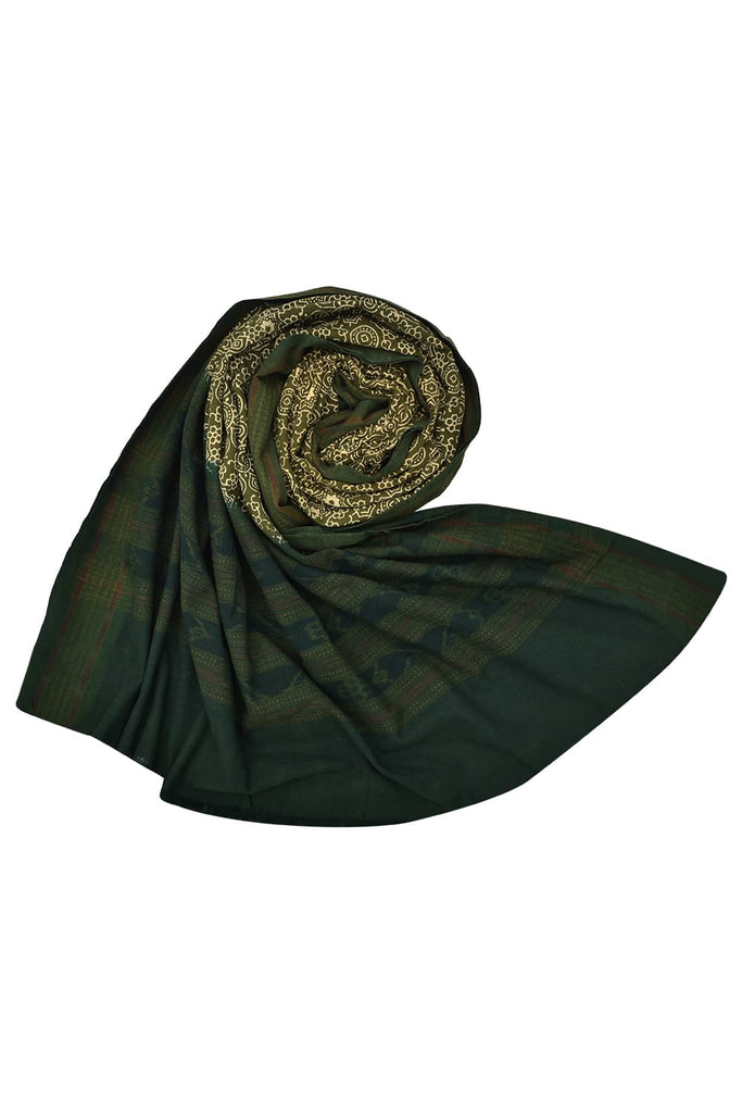 Green handloom cotton block print dupatta
