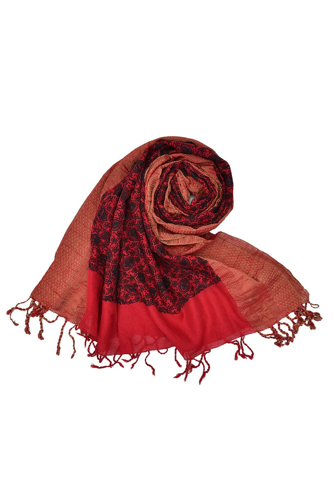 Red chanderi Ajrakh dupatta