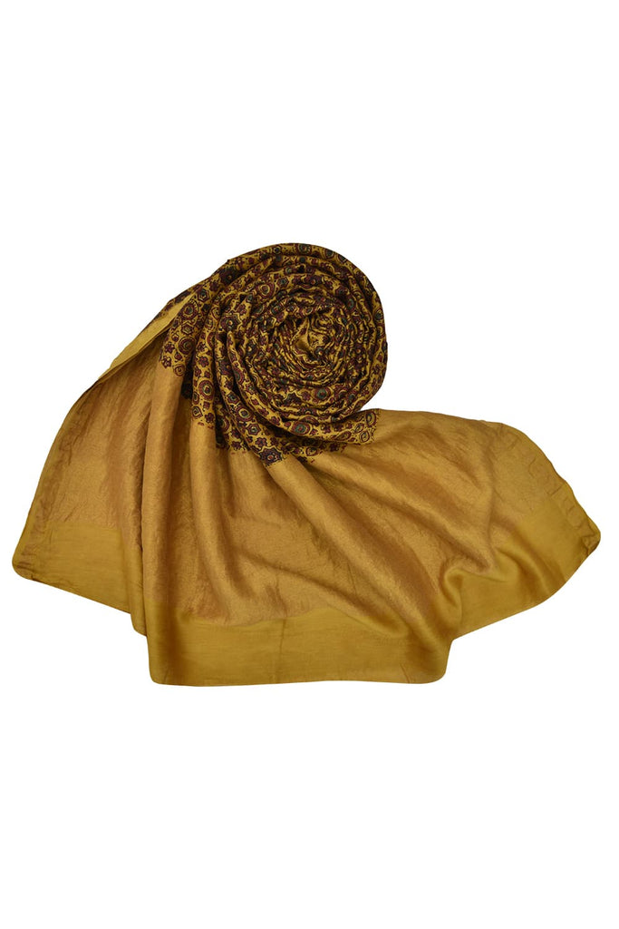 Yellow chanderi Ajrakh dupatta