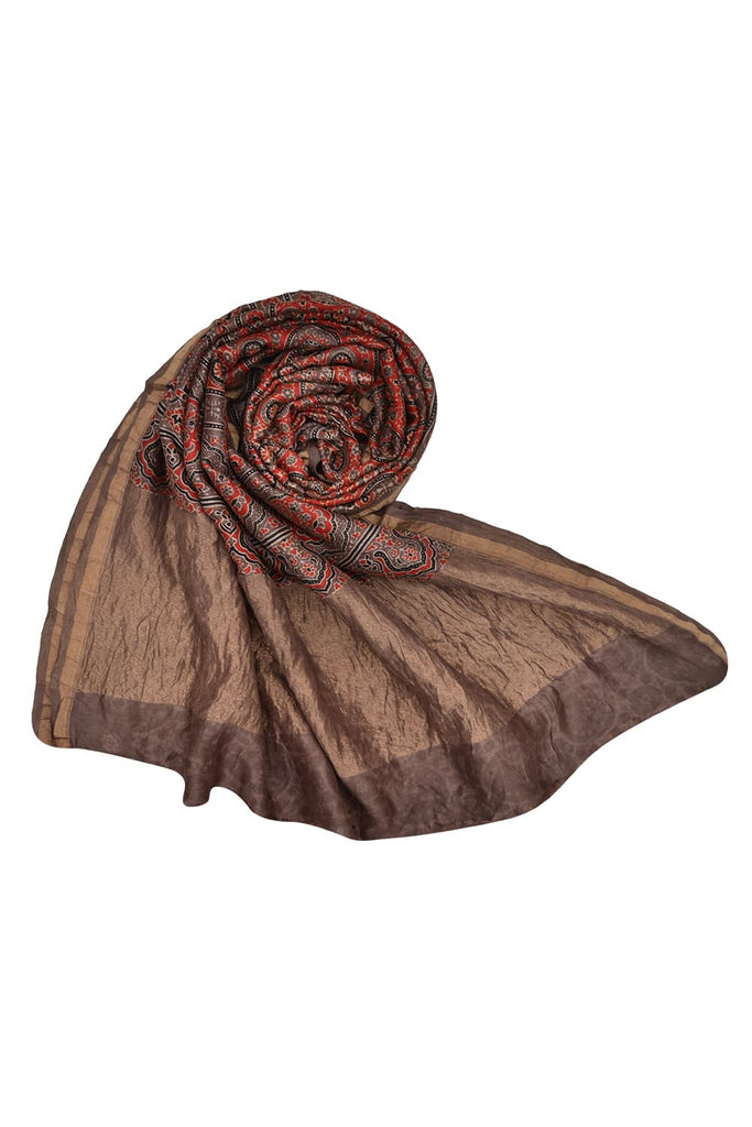 Brown chanderi Ajrakh dupatta