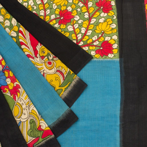 Pochampally Ikkat Cotton Saree With Pecock Kalamkari Work in Multicolor