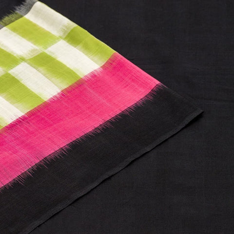 Pochampally Ikkat Cotton Saree in Black, Pista Green And Pink