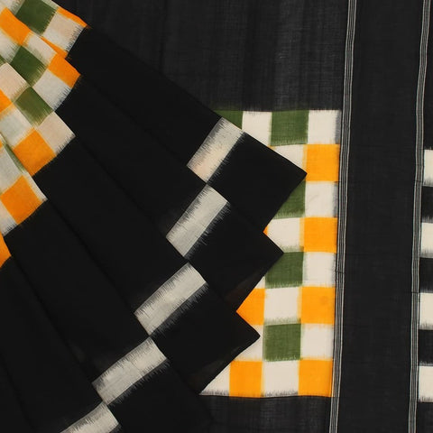 Pochampally Ikkat Cotton Saree in Green, Yellow, White And Black