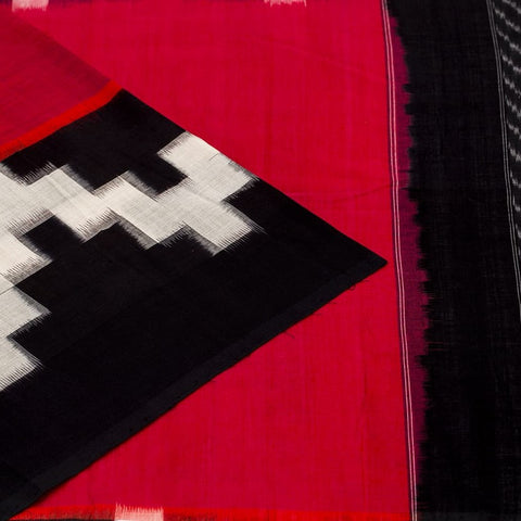 Pochampally Pure Cotton Double Ikat Saree in Pink And Black And White