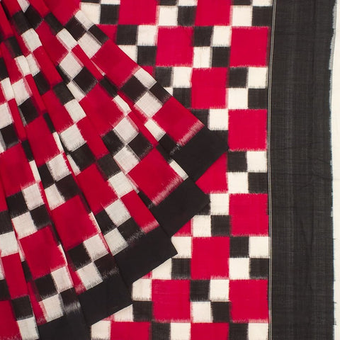 Pochampally Ikkat Cotton Maroon, Black And White Saree