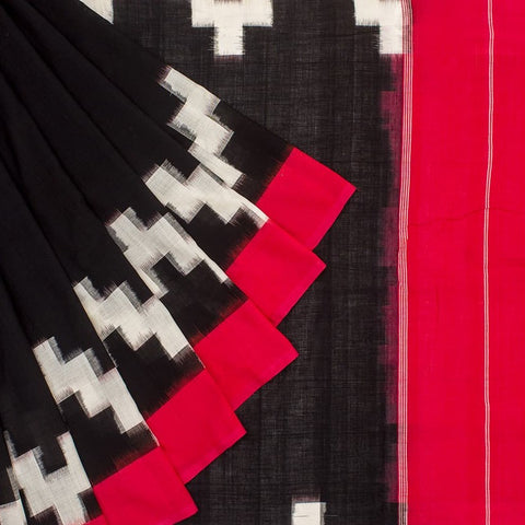 Pochampally Ikkat Cotton Black, Pink And White Saree