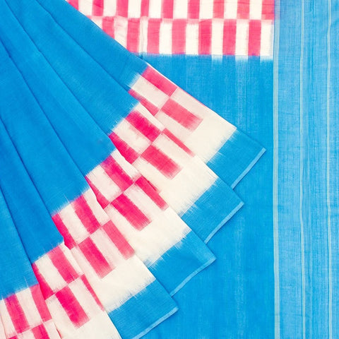 Pochampally Ikkat Cotton Blue, Pink And White Saree
