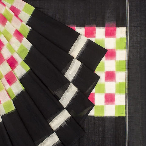 Pochampally Ikkat Cotton Pink And Mint Green And Black Saree