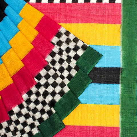 Pochampally Ikkat Cotton Green, Sky Blue. Pink, Yellow And Black And White Saree