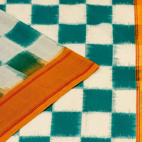 Pochampally Ikkat Cotton Saree in Teal Green And Haldi Yellow