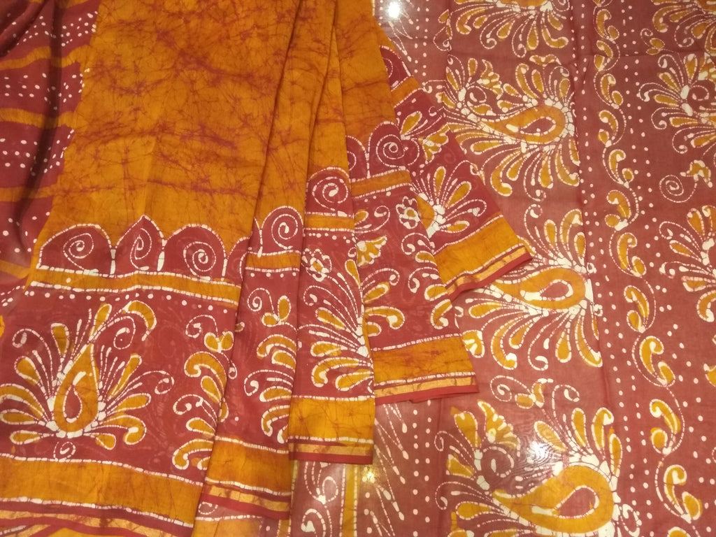 Chanderi cotton orange saree