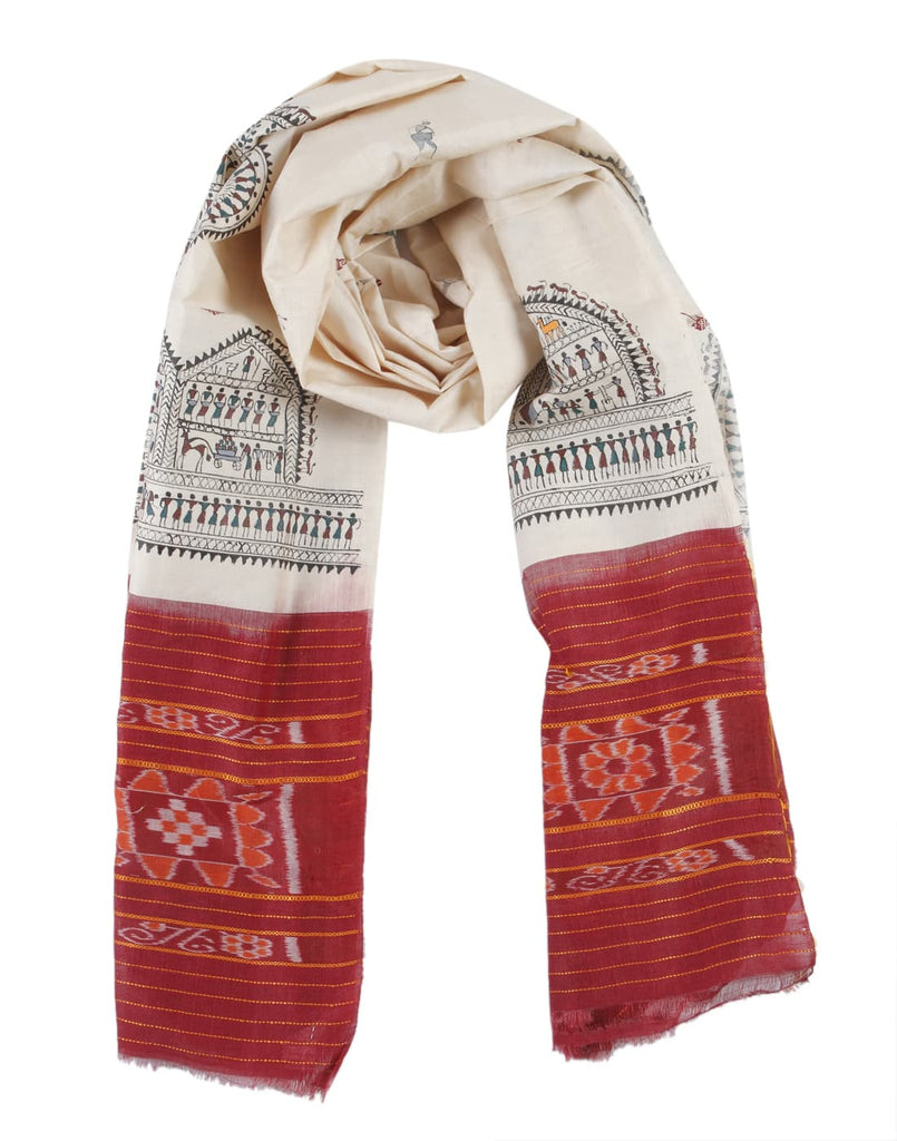 Orissa Tussar Silk Beige Tribal art Work Dupatta with Saura Motif