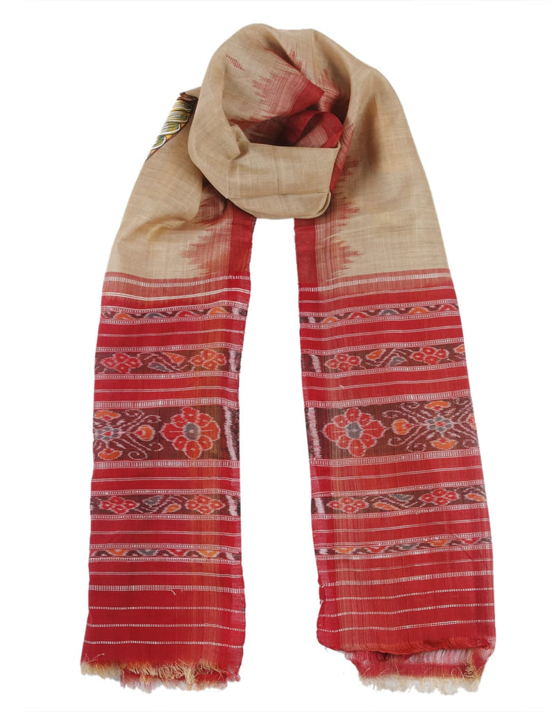 Orissa Bapta Cotton Beige and Red Dupatta with Saura Work Temple Border Motif