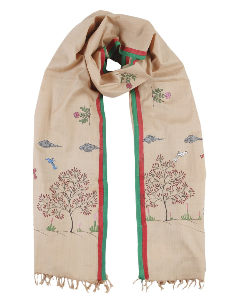 Orissa Bapta Cotton Beige Dupatta with Tribal Tree Motif