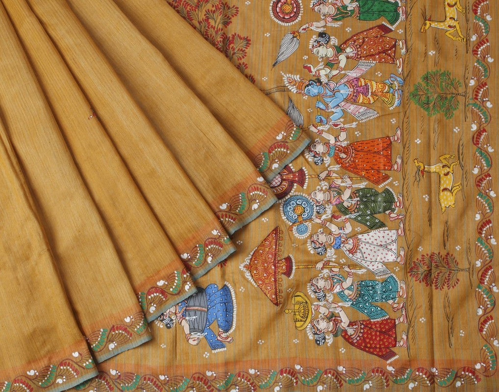 Orissa Tussar Silk Golden Handpainted Saree with Floral Motif