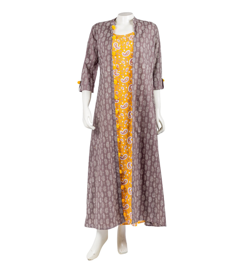 Brown and Mustard Hand Block Cotton Dress