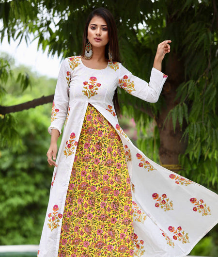 pink yellow block printed cotton Maxi Dress