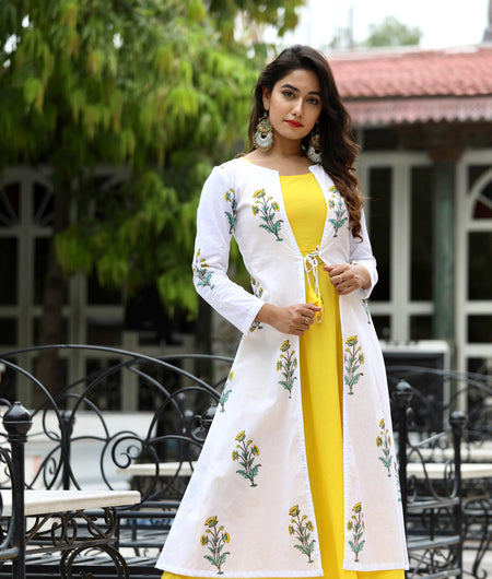 Yellow Hand Block Printed Cotton Maxi Set