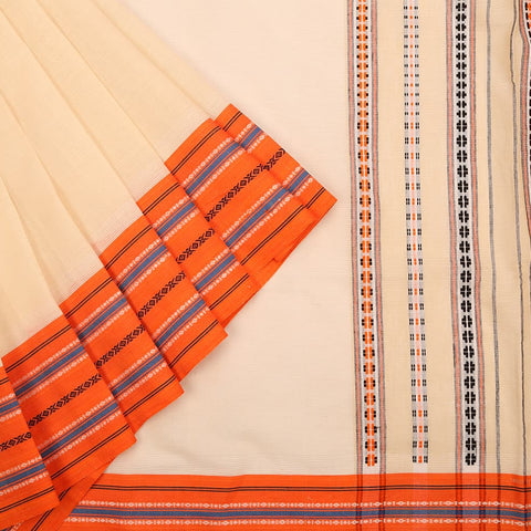 Begampur Cotton Cream Saree with Orange Ganga Jamuna border