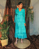 Cadet Blue Leheriya Maxi Fusion Dress