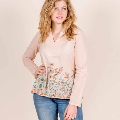 Cotton Pink Multi Coloured Embroidered Short Top