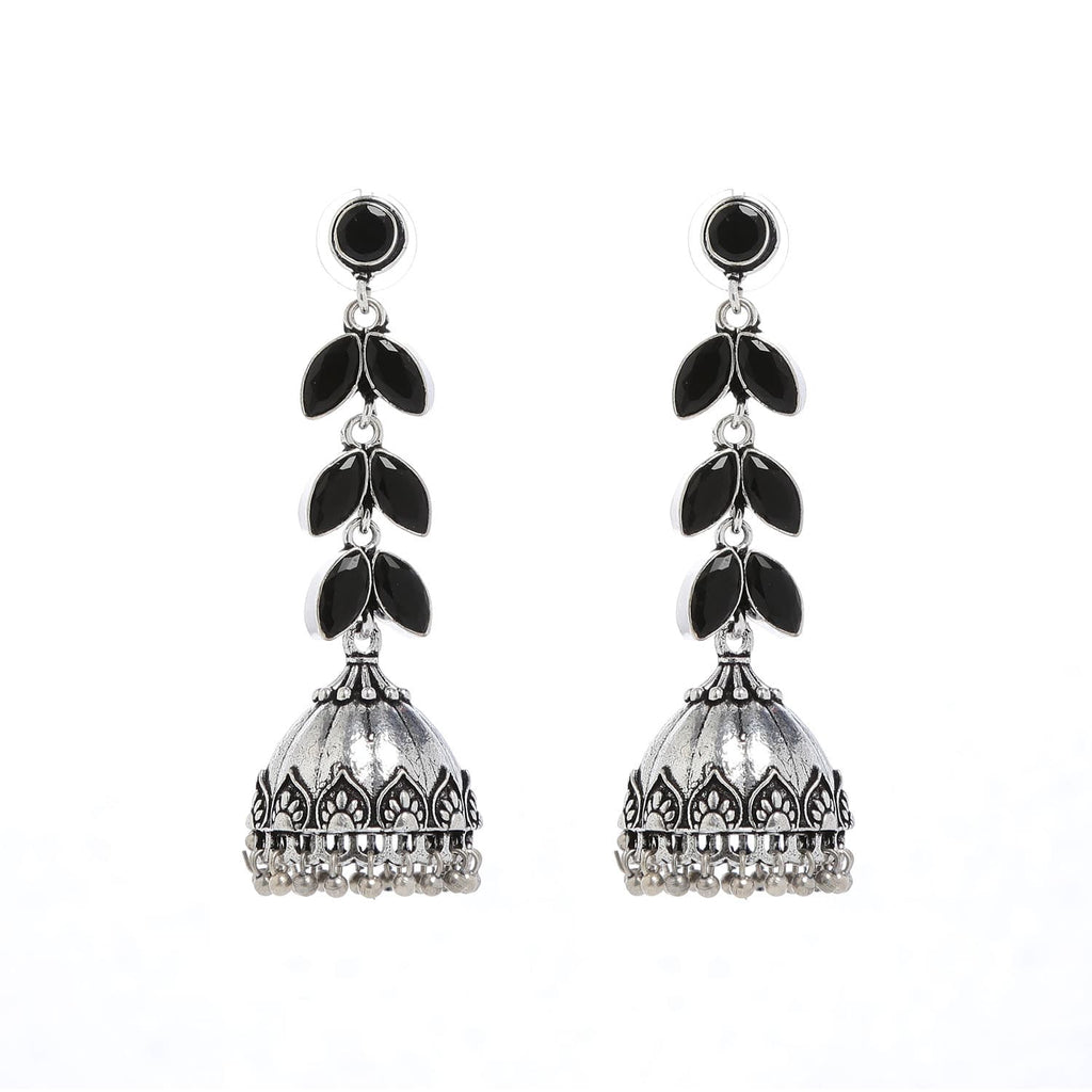 Oxidized Silver and Black Jhumki Earrings