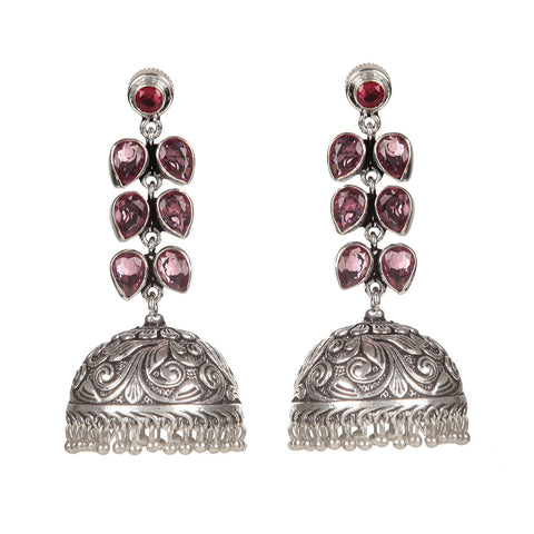 Pink And Silver Hand Crafted Artificial Stone Earring