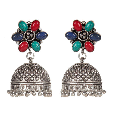 Silver Plated Hand Crafted Multicolor Artificial Stone Earring
