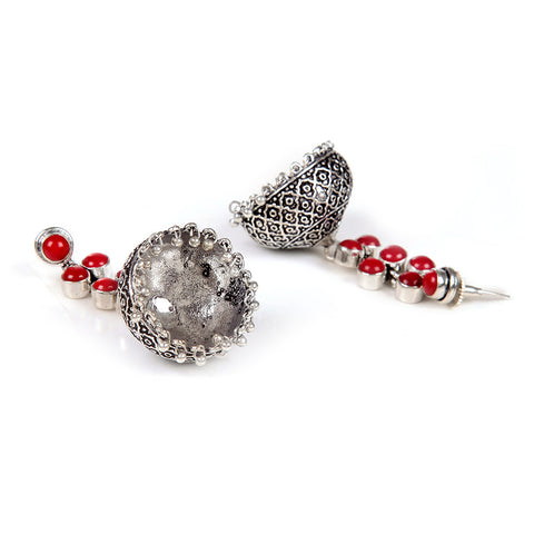 Red And Silver Hand Crafted Artificial Stone Earring