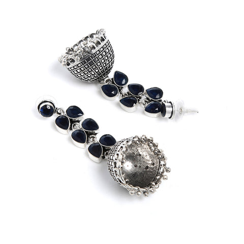 Oxidized Silver and Blue Jhumki Earrings