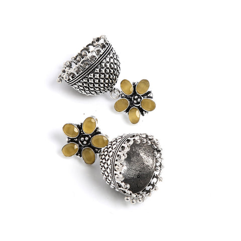 Yellow And Silver Hand Crafted Artificial Stone Earring