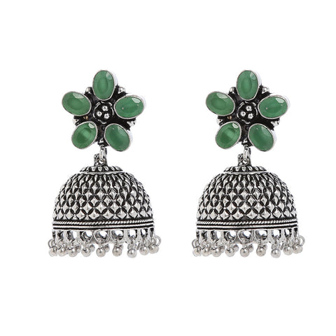 Green And Silver Hand Crafted Artificial Stone Earring
