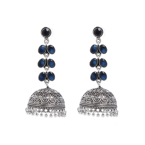 Blue And Silver Hand Crafted Artificial Stone Earring