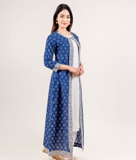 White and Blue Hand Block Cotton Suit Set