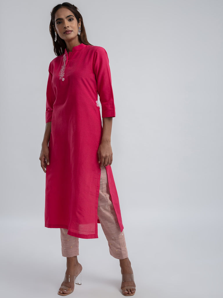 Solid Fuschia Pink khadi cotton Kurta and Pant