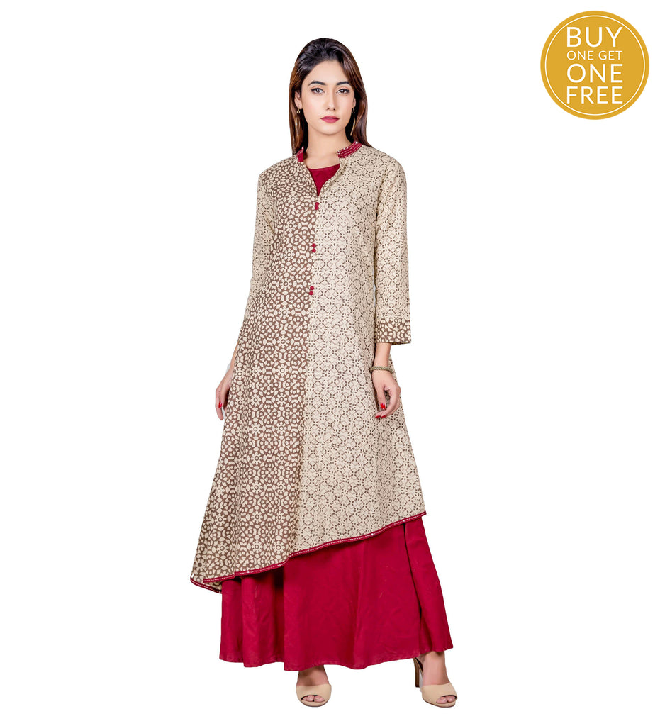 Beige and Maroon Hand Block Cotton Kurta