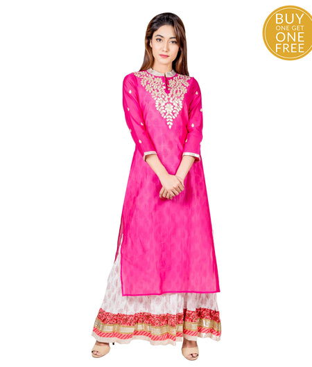 Pink Hand Block Cotton Chanderi Kurta