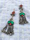 Red And Green Combination Afghani Earrings