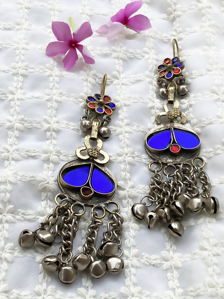 Blue And Red Combination Afghani Earrings